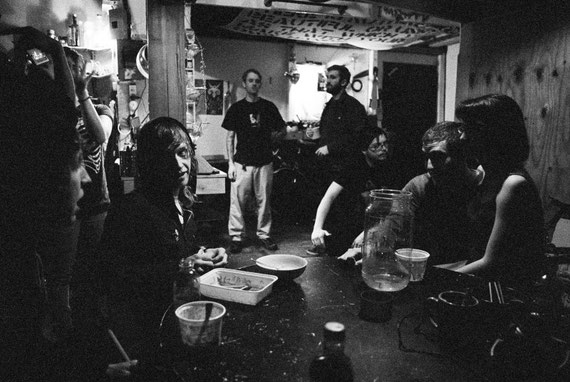 people hanging out at The Stolen Sleeves Collective, 538 Johnson Ave, Brooklyn NY – Minolta 7000 | Kodak P3200 TMAX