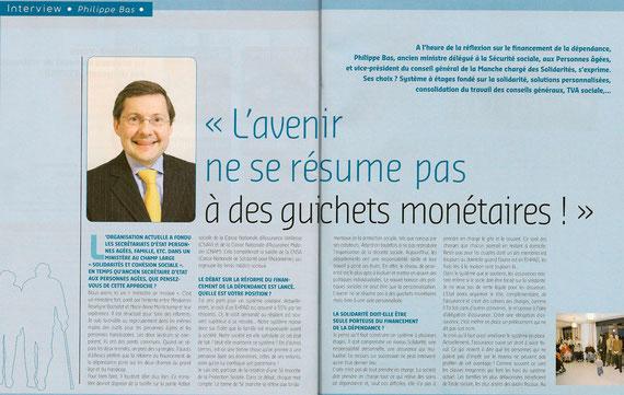 Interview de Philippe Bas dans la magazine Géroscopie, février 2011