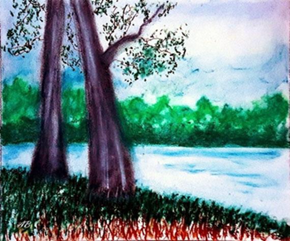 Bäume am See, Pastellgemälde, Bäume, Wald, See, Gras, Wasser, Himmel, Wolken, Landschaftsbild, Pastellmalerei, Pastellkreide