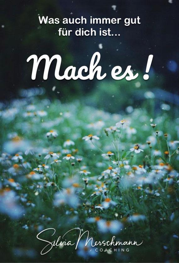 Blumenwiese. Bild mit Text.