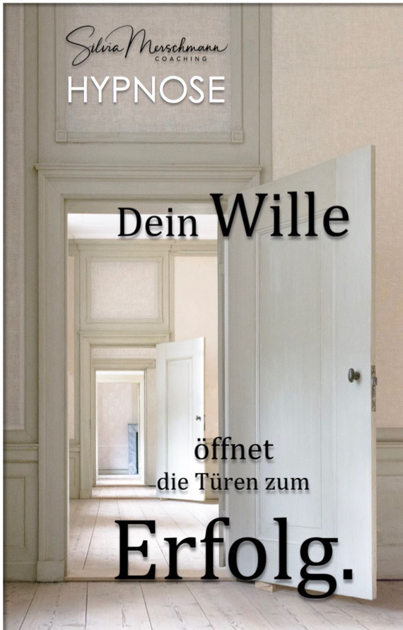 Zwei geöffnete Türen. Bild mit Text.