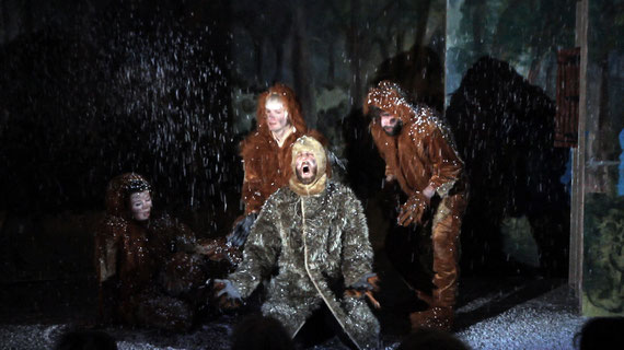 "Ballad of the Kinderhook Creature, Still from Christopher Kline's ""O.K. – The Musical"", Patrick Burkhardt, Sara Løve Daðadóttir, Matthias Hofmann, Christopher Kline as Kinderhook Creatures"