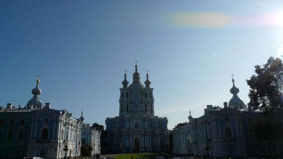 La cathedrale Smolny, toute bleue et blanche