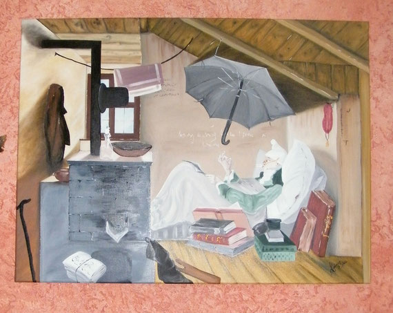 Nachbildung - Reproduktion - Der arme Poet - Carl Spitzweg