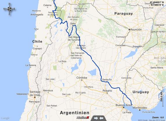 unsere gefahrene Route in Argentinien