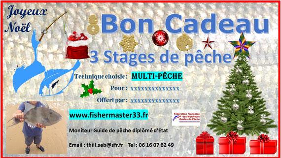 bon cadeau 3 stages de pêche bassin d'Arcachon