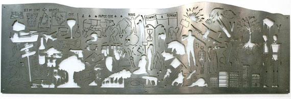 Normographe de la Boétie, acier découpé, 220cm X 70cm, 2009
