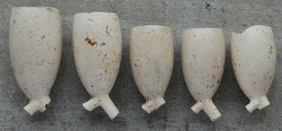 5 Verschillende gladde Ovoide modellen uit ca 1870