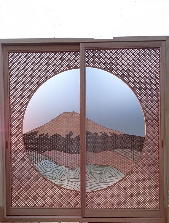 #富士山&四方転び組み丸組子細工柄入り