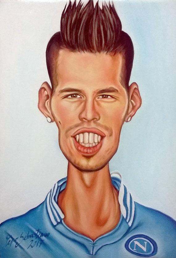 Caricatura Marek Hamsik - Olio su tela 35X50