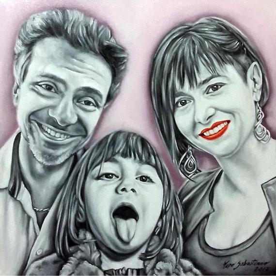 Ritratto di famiglia - Olio su tela - 50X50