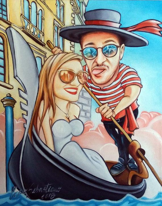 Caricatura di ragazzi su gondola - Olio su tela 40X50