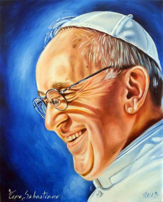 Ritratto di Papa Francesco - Olio su tela  - 40X50