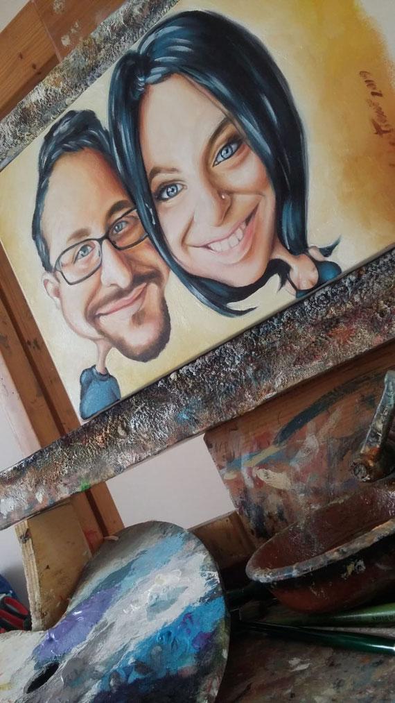 Caricatura di coppia - Olio su tela 20X30