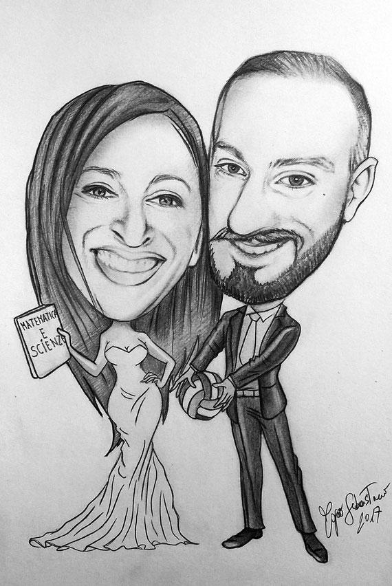 Caricatura di sposi - Matita su cartoncino 20X30