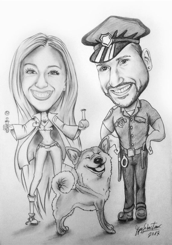 Caricatura di ragazzi con cane - Matita su cartoncino 35X50