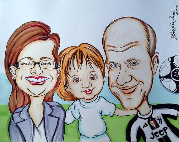 Caricatura di famiglia - Inchiostro a colori su cartoncino 40X50