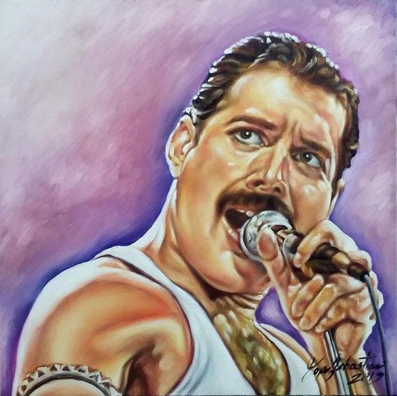 Ritratto di Freddie Mercury - Olio su tela 50X50 - SO DON'T BECOME SOME BACKGROUND NOISE (Queen)