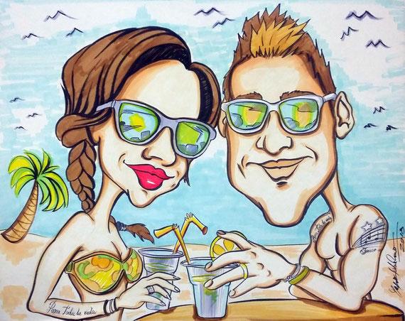 Caricatura di coppia - Inchiostro a colori su cartoncino 40X50