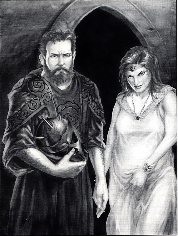 Priester mit Dornenhelm und Lyza