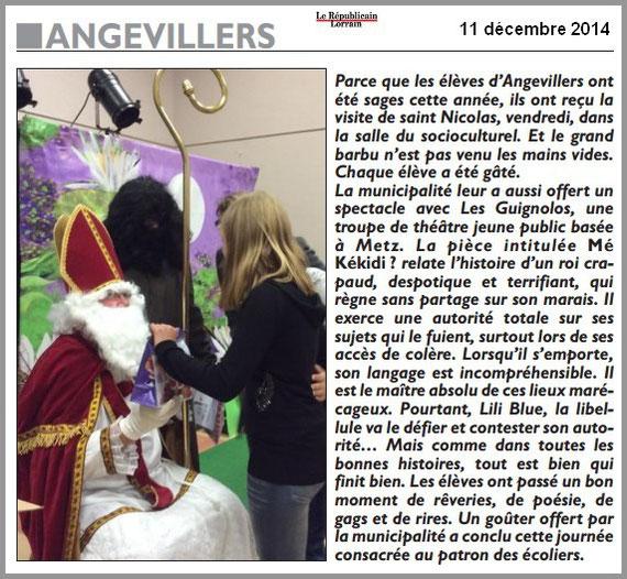 article de presse RL 11 décembre 2014 - spectacle jeunesse - compagnie théâtrale jeune public LES GUIGNOLOS - rerprésentation ANGEVILLERS - saison 2014/2015