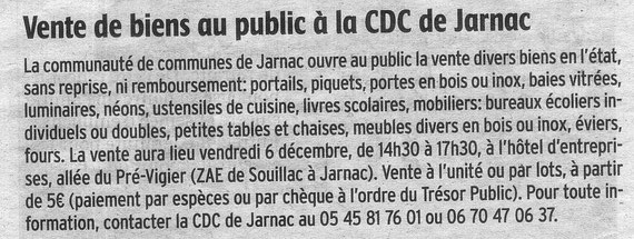 Article Charente Libre du 28-11-2013