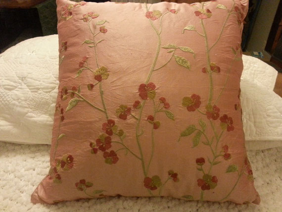 Salmon-coloured, silk throw pillow - inspiration for paint colour