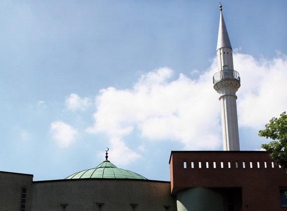 """Teil des Mannheimer Stadtbildes ist auch die Yavuz-Sultan-Selim-Moschee mit der Kuppel und dem Minarett, die zu den ca. 800 registrierten Moscheenvereine der """"DITIB"""" in Deutschland gehört."""
