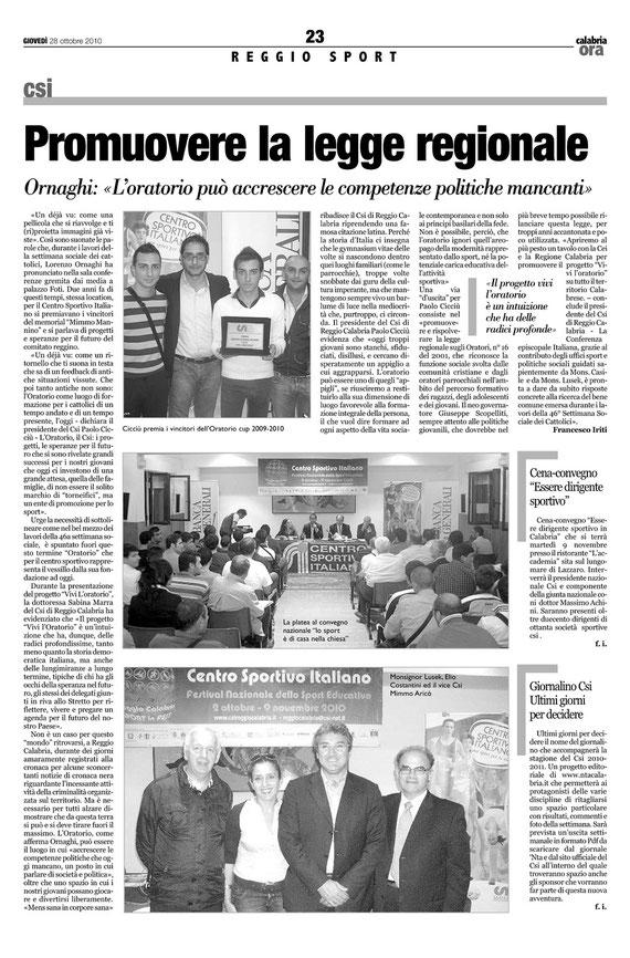Articolo su Calabria Ora del 28.10.2010 (per leggere l'articolo cliccaci sopra)