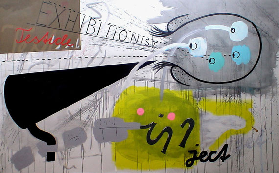 """exhibitionist testicle inject jet"" 2m40x1m40 acrylic + crayon on canvas 2010"