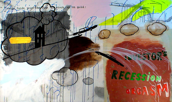 """investor's recession orgasm"" 2m40x1m40 acrylic + ink on canvas, 2010"