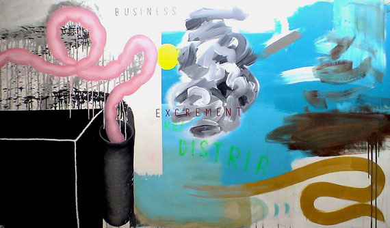 """business excrement re/distribution""  acrylic + oilstick on canvas  2m40x1m40  2010"