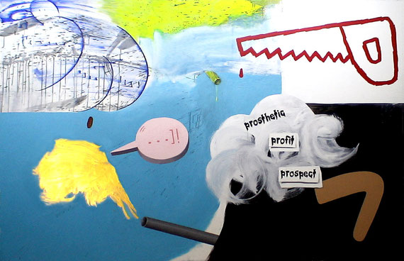 """prosthetic profit prospect"" 2m35x1m50 acrylic on canvas 2010"