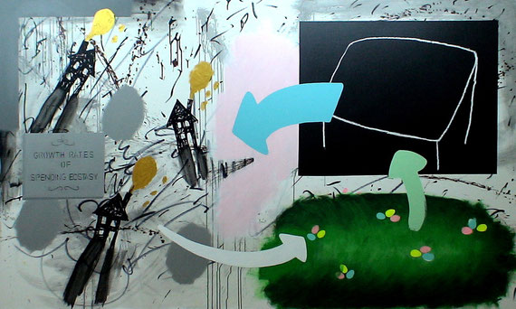 """growth rates of spending ecstasy""  2m40x1m40 acrylic + oilstick on canvas 2010"
