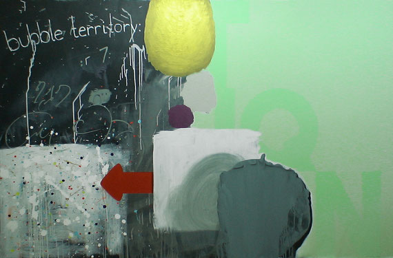 """bubble territory: deteriorating liquidity conditions"" acrylic + oil crayons on canvas, 2m40x1m40, 2010"