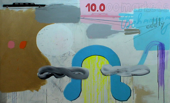 """10.000 markets behaving oddly""  2m40x1m40 acrylic, pencil+crayon on canvas 2010"