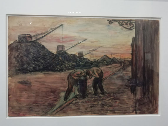 Gaston Prunier, Quai aux charbons (Quai Colbert), des ouvriers se lavent. Une des revendications de la grève dirigée par Durand réclamait des douches sur les quais. La perspective évoque  Raoul Dufy, Fin de journée au Havre, 1901