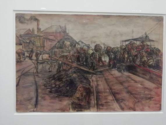 Gaston Prunier, Déchargement d'un navire charbonnier dans le port du Havre