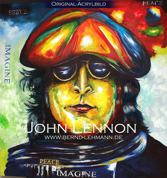 JOHN LENNON Unikat/Original auf Leinwand 160 cm x 160 cm. Unikat in Acryl auf Leinwand, gespannt auf Keilrahmen.