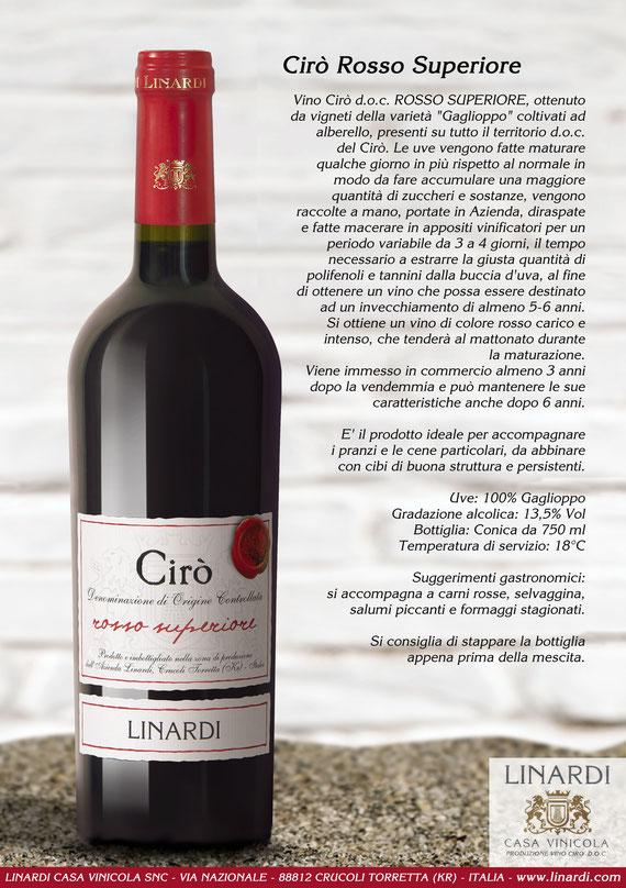 Scheda Cirò Rosso Superiore Linardi Wines