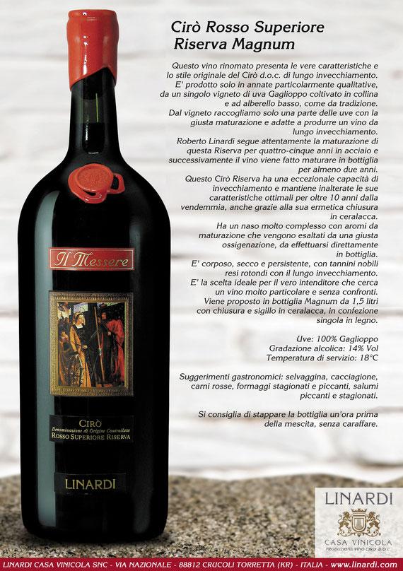 """Scheda Cirò Rosso Superiore Riserva """"Il Messere Magnum"""" Linardi Wines"""
