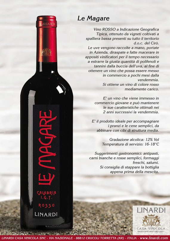 Scheda Le Magare I.G.T. Calabria Rosso Linardi Wines