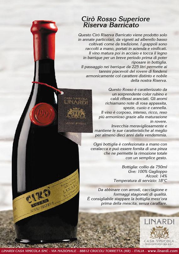 Scheda Cirò Rosso Superiore Riserva Barricato Linardi Wines