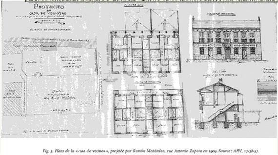 Plano casa de vecinos C/ Antonio Zapata  año 1909