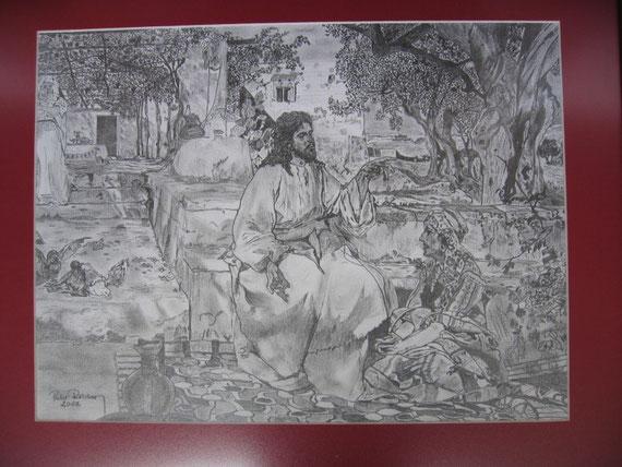 Jesus zu Besuch bei Maria und Anna - alle Bilder-nur mit Bleistift gezeichnet 2002