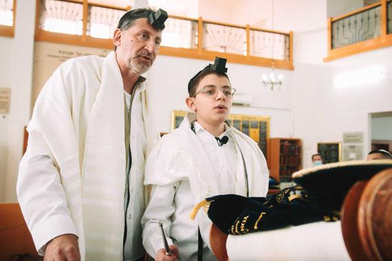 קריאה בתורה - חתן בר המצווה עם אביו