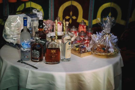 שולחן המשקאות | צילום חינה במסעדת דארנא