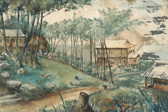 Vue du Hon Ba - Aquarelle, coll. Famille Ducrest