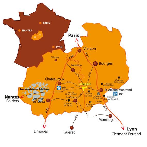 A 2h 30 de Paris A 3h 30 de Lyon A 4 h de Nantes A 4 h 30 de Toulouse