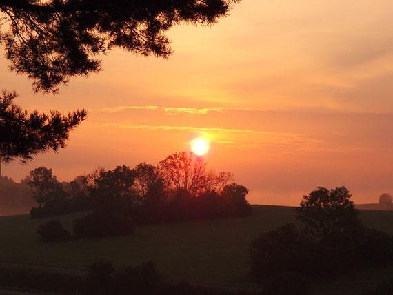 rosafarbener Sonnenaufgang in Sonnenbühl, Schwäbische Alb